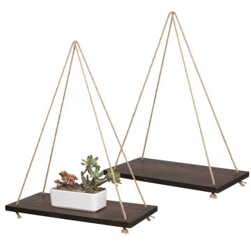 Set of 2 Brown Decorative Wall Hanging Shelf Distressed Wood Hanging Swing Rope Floating Shelves