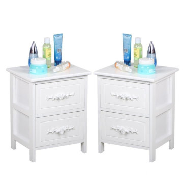 Pair of 2 Drawers Shabby Chic French White Wood Bedside Tables Unit Wooden Nightstand Cabinets with Storage Drawers