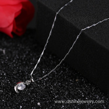 Silver Simple Zircon Chain Necklace For Wedding Jewelry
