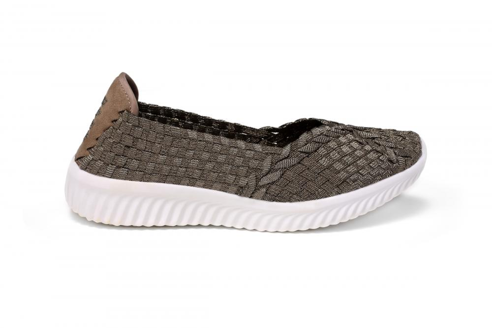 Bronze Color Upper Casual Woven Pumps