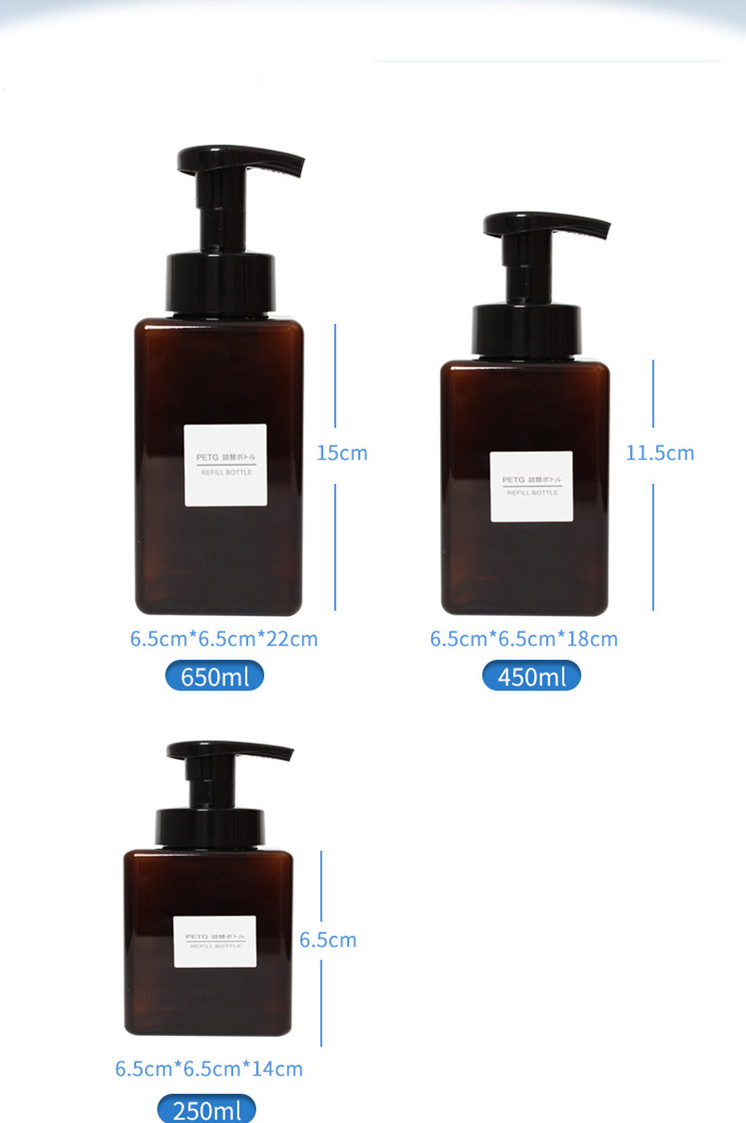 PETG green hand washing/shampoo/mousse bottle for cosmetic packaging
