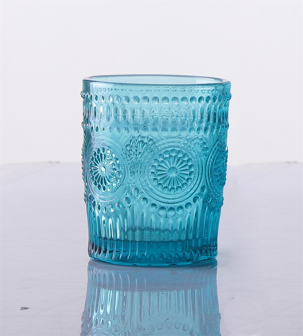 Colorful Unique Crystal Stylish Blue Sunflower Wine Glasses