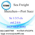 Shenzhen Port Sea Freight Shipping To Port Suez