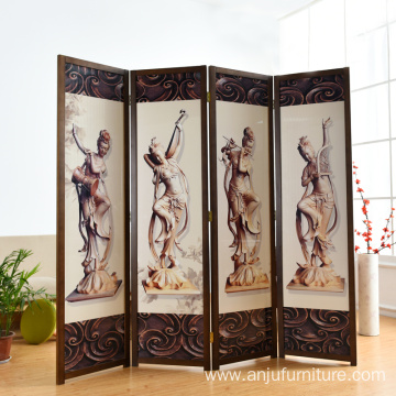 Partition 4 Panel Wall Separated Foldable Solid Wood Room Divider Screen