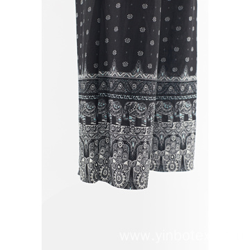 Print rayon wide trousers