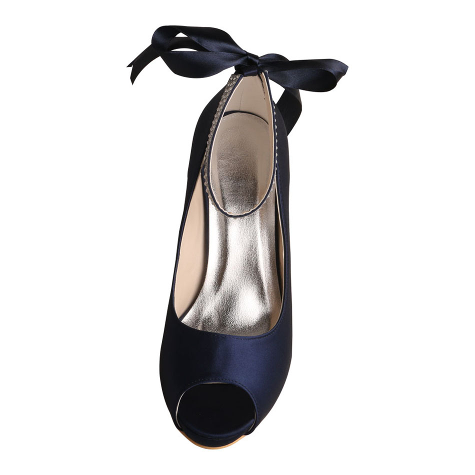 Navy Blue Satin Shoes For Party