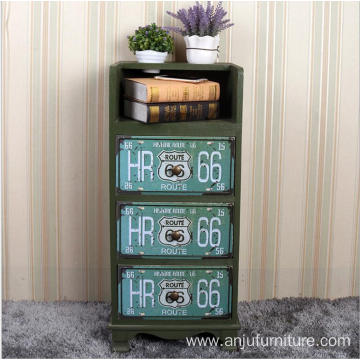 Bottom price for Vintage Wood Cabinet Antique Cabinet green color Night Stand Beauty salon tool cabinet supply to Eritrea Wholesale