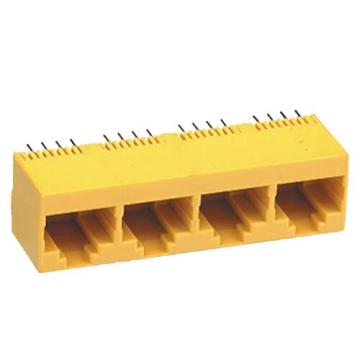 Modular Jack Top Entry 1X4 Port Full Plastic