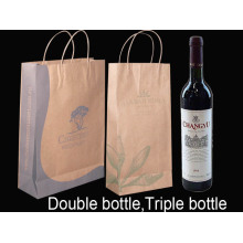 Color Full Printing Handle Wine-bottle Paper Bag