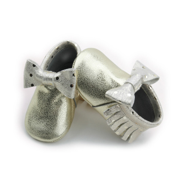 New Styles Metal Gold Bow Girls Baby Moccasins