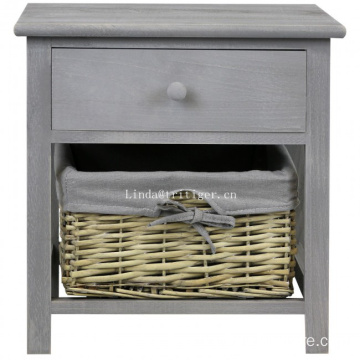 Wood Grey Night stand Bedside Table Cabinet with Wicker Storage Basket