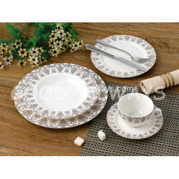 Golden Ceramic Dinnerware Set  (Gold White) - Gold White