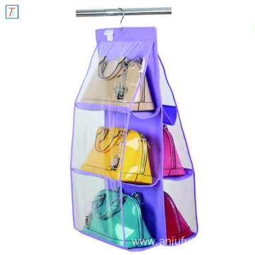 6 Compartment Handbag Purse Hanging Closet Organizer