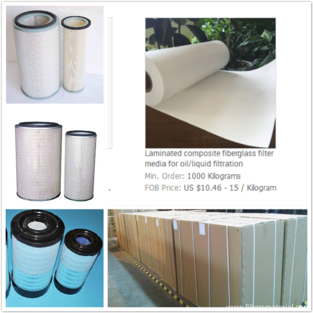 Composite fiberglass filter media for oiland liquid filtration