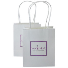Wholesale Customized elegant paper bag with ribbon handles