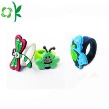 Multicolor Beautiful Butterfly Rings Silicone Embossed Rings
