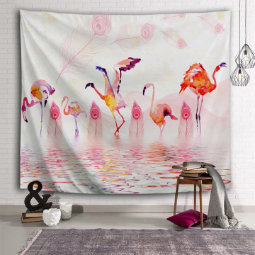 Flamingo and Feather Tapestry Watercolor Pink Wall Hanging Tropical Vintage Tapestry for Livingroom Bedroom Home Dorm Decor