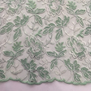 Best Price for Nylon Lace Mesh Embroidery Fabric Two Tone Double Borders Flower Embroidery Fabric export to Lesotho Supplier