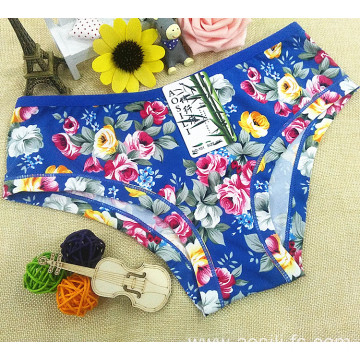 2016 China wholesale bamboo fiber high elastic women sapphire eco-friendly little girl printed flowers simple underwear 101
