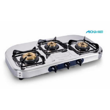 SS Natural Polish Gas Stove 3 Brass Burners