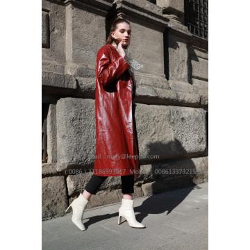 Women  Red Leather Coat