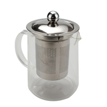 Glass Tea Pot With Stainless Steel Lid