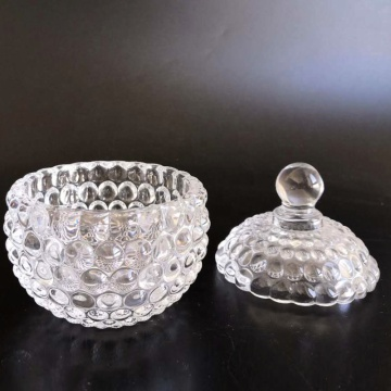 Crystal Round Glass Jars With Glass Lid