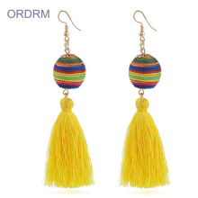 Customized for Bohemian Tassel Earrings Handmade big silk rainbow tassel earrings export to India Wholesale