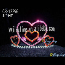Heart Pink Rhinestone Crown Tiaras For Kids