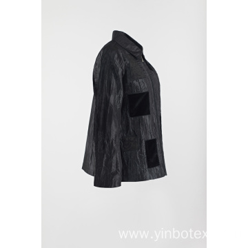 Black casual patched coat in wrinkle jacket