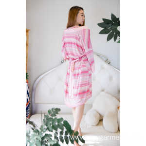 OEM manufacturer custom for Long Robe With Fur Trim,Fashion Knit Robes,Knitted Fabric Production Switzerland Manufacturer in China Viscose stripe print short robe and nightdress export to Oman Factories