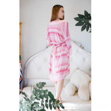 Viscose stripe print short robe and nightdress