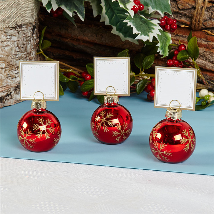 PC003-4 Snowflake Bauble Place Card Holder Red