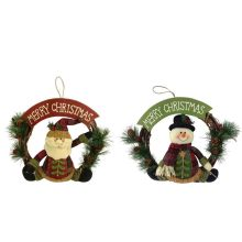Christmas 3D santa and snowman shape wreath