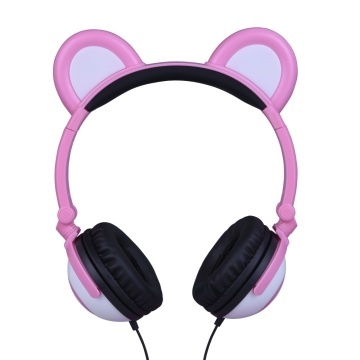 Leading for Bear Ear LED Headphones Kids Foldable LED Light Panda Ear Wired Headphones supply to Yemen Supplier