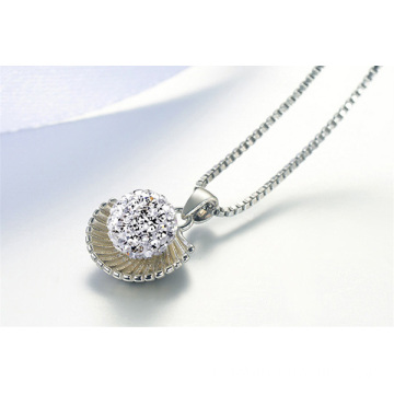 Coquille forme cristal Shamballa perles collier plaqué argent