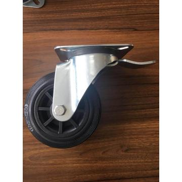 160mm rubber wheel plate casters for garbage bins