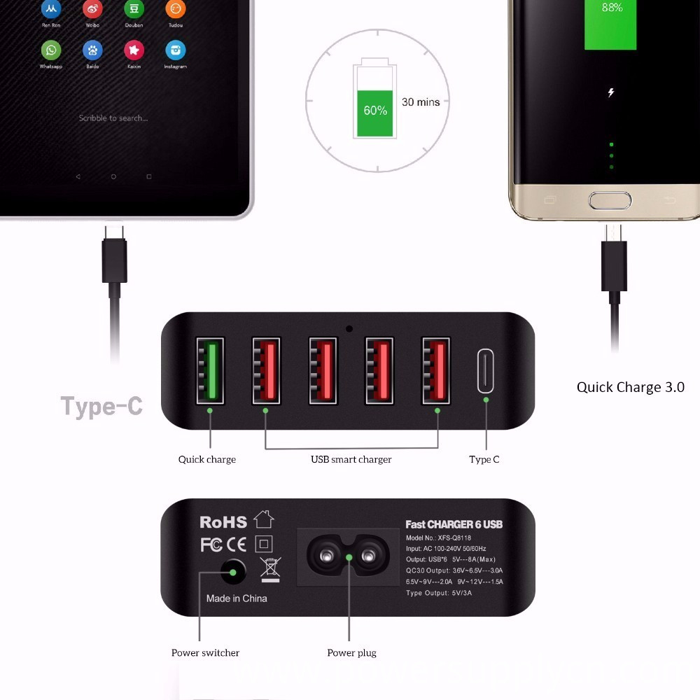 usb wall charger 6port