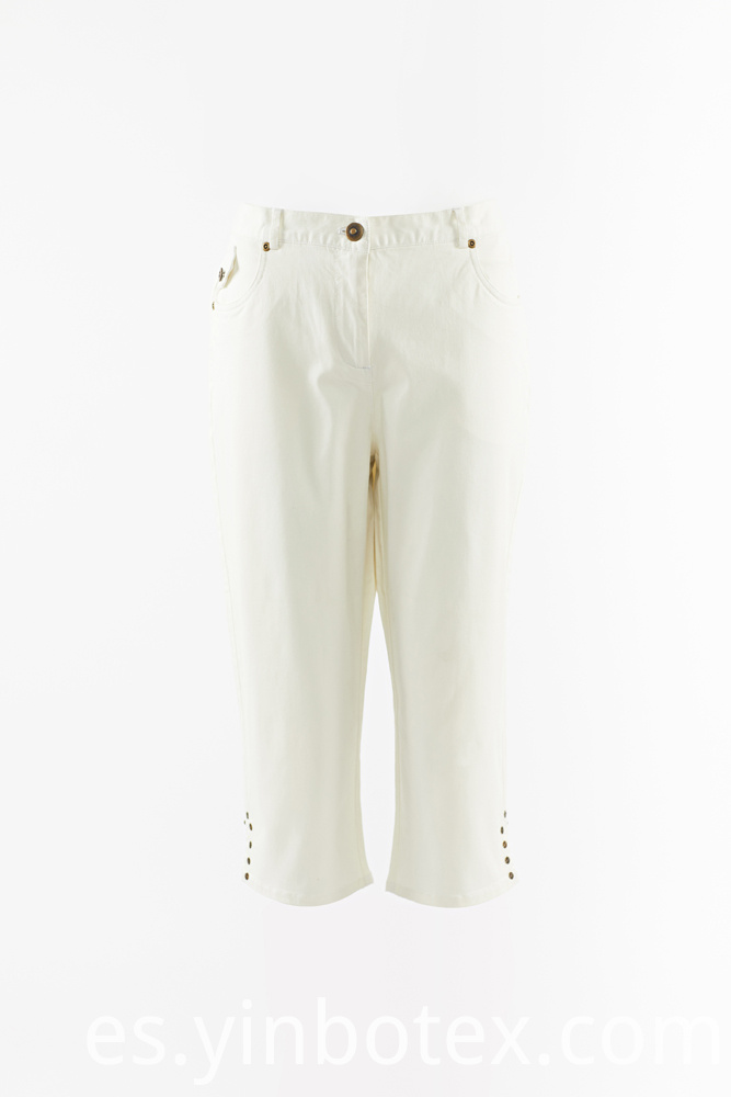 white cotton cropped pant