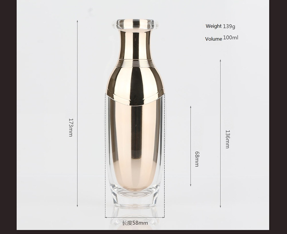 Acrylic rose gold pump cosmetic bottle and jar