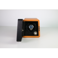 new design watch winder for single watch with microfiber pu leather carbon fibre and Japanese mabuchi motor mira enrollador