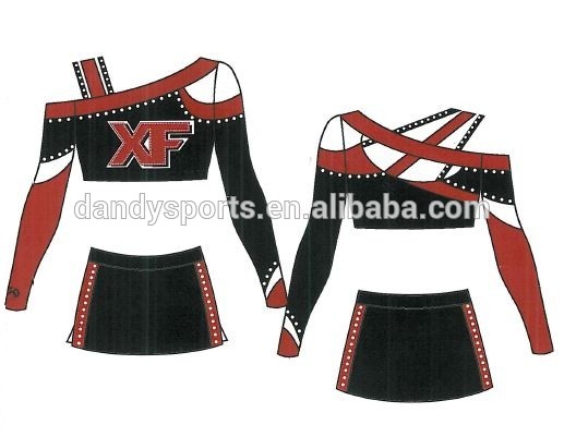 Asymmetrical Neckline Cheer Uniform