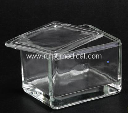 Glass staining jar with glass lid for  20pcs Microscope slide