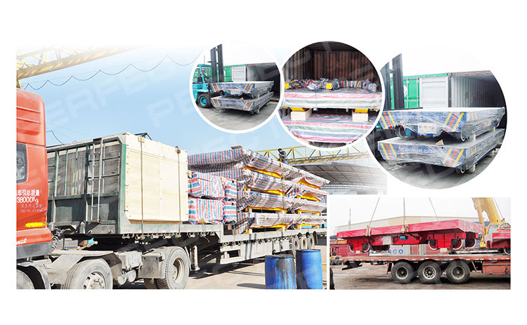 Electric warehouse rail transfer flat car