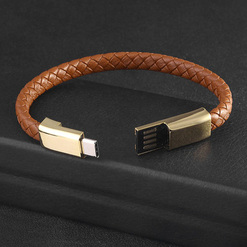 USB Charger Mens Braided Brown Leather Bracelet
