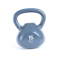 15LB Grey Vinyl Coated Kettlebell