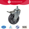Medium 5 Inch 200Kg Threaded Brake PU Caster