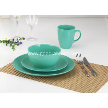 16 Pieces Stoneware Dinnerware Set Green