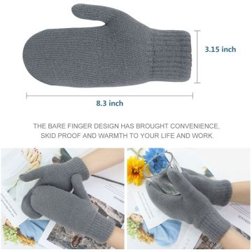 Digitek Women Thicken Knitted Mittens Outdoor Gloves