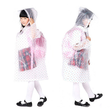 Custom Printed EVA Children Long Schoolbag Raincoat